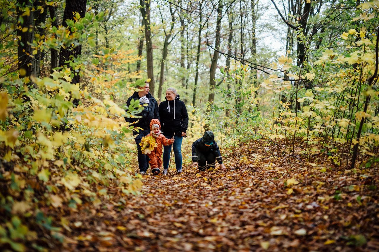 Familie mit Kindern im Wald