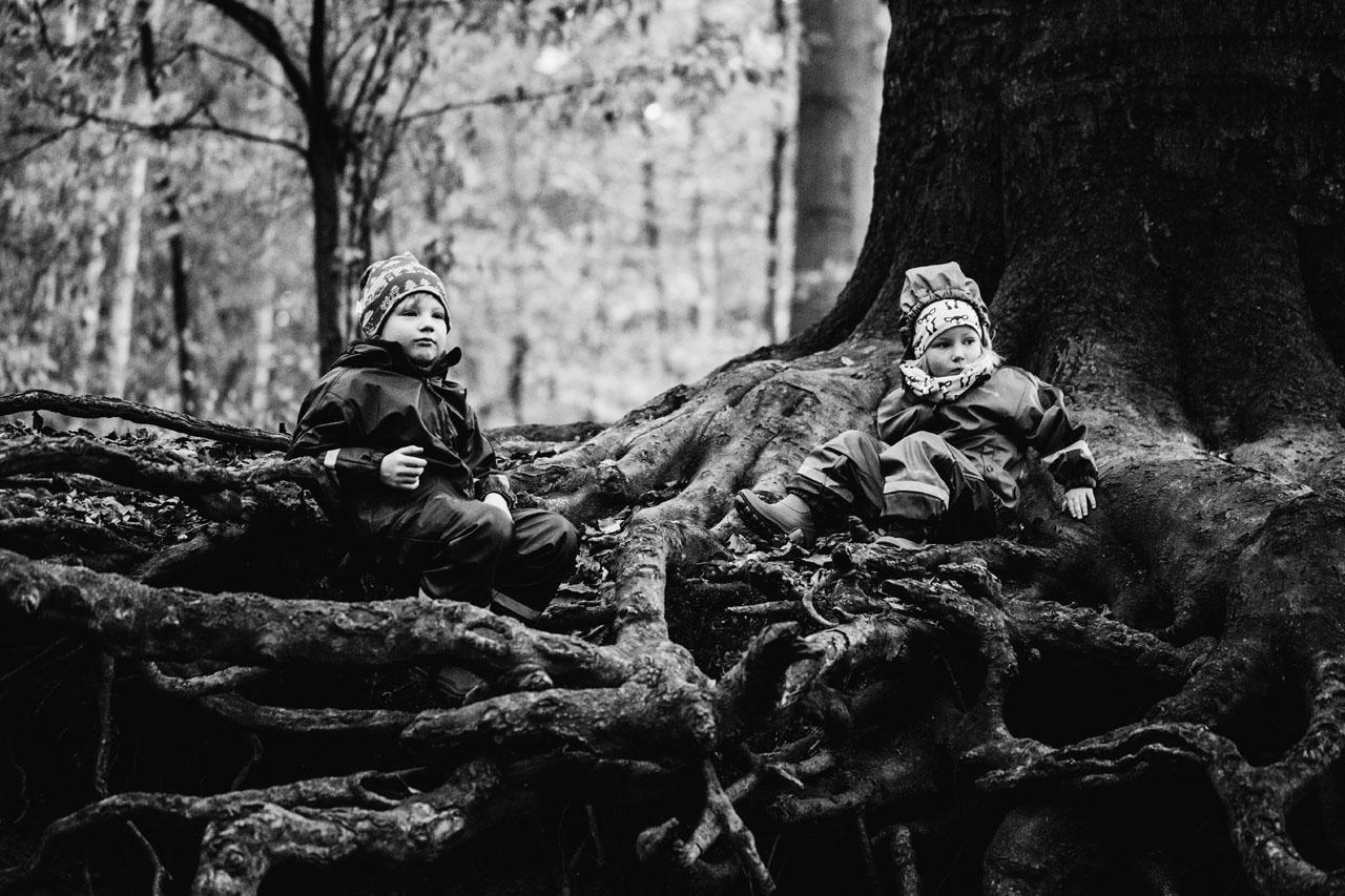 zwei Kinder auf Wurzeln sitzend